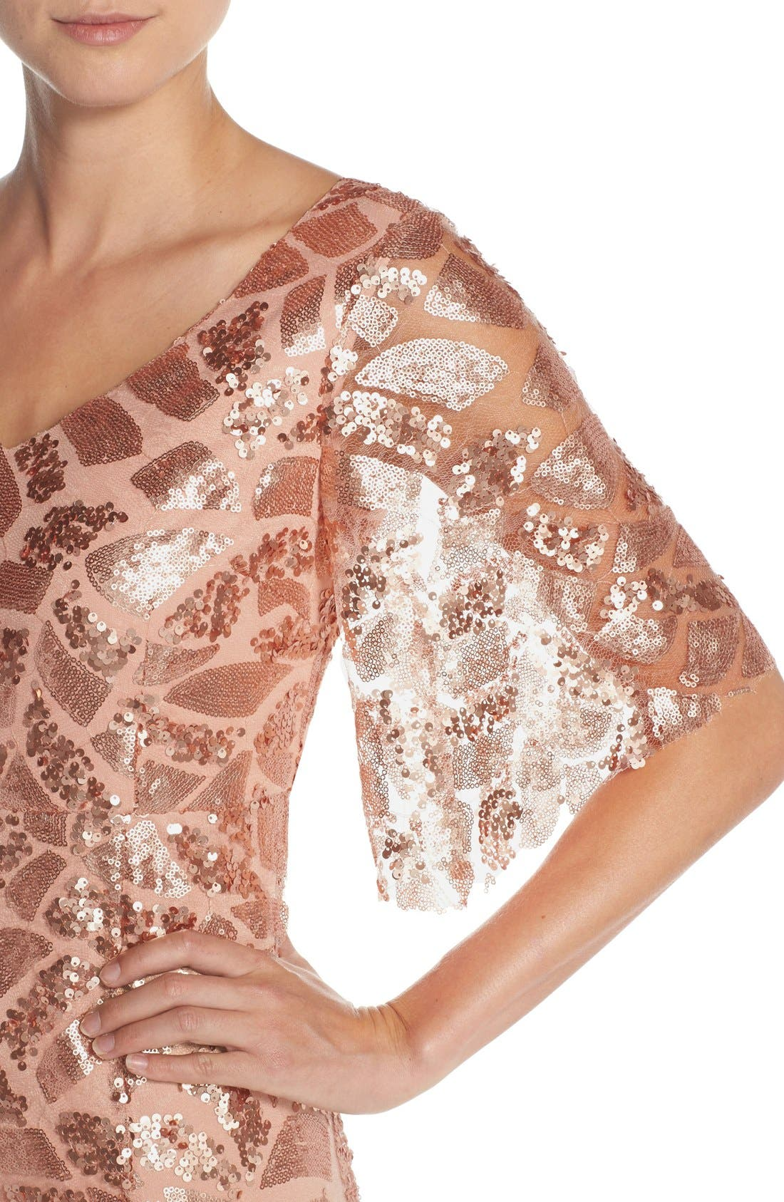 Alternate Image 4  - Donna Morgan 'Camilla' Sequin Flutter Sleeve Gown