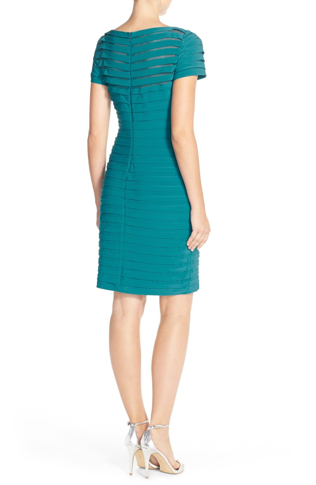 Alternate Image 2  - Adrianna Papell Illusion Bodice Pleated Jersey Sheath Dress (Regular & Petite)