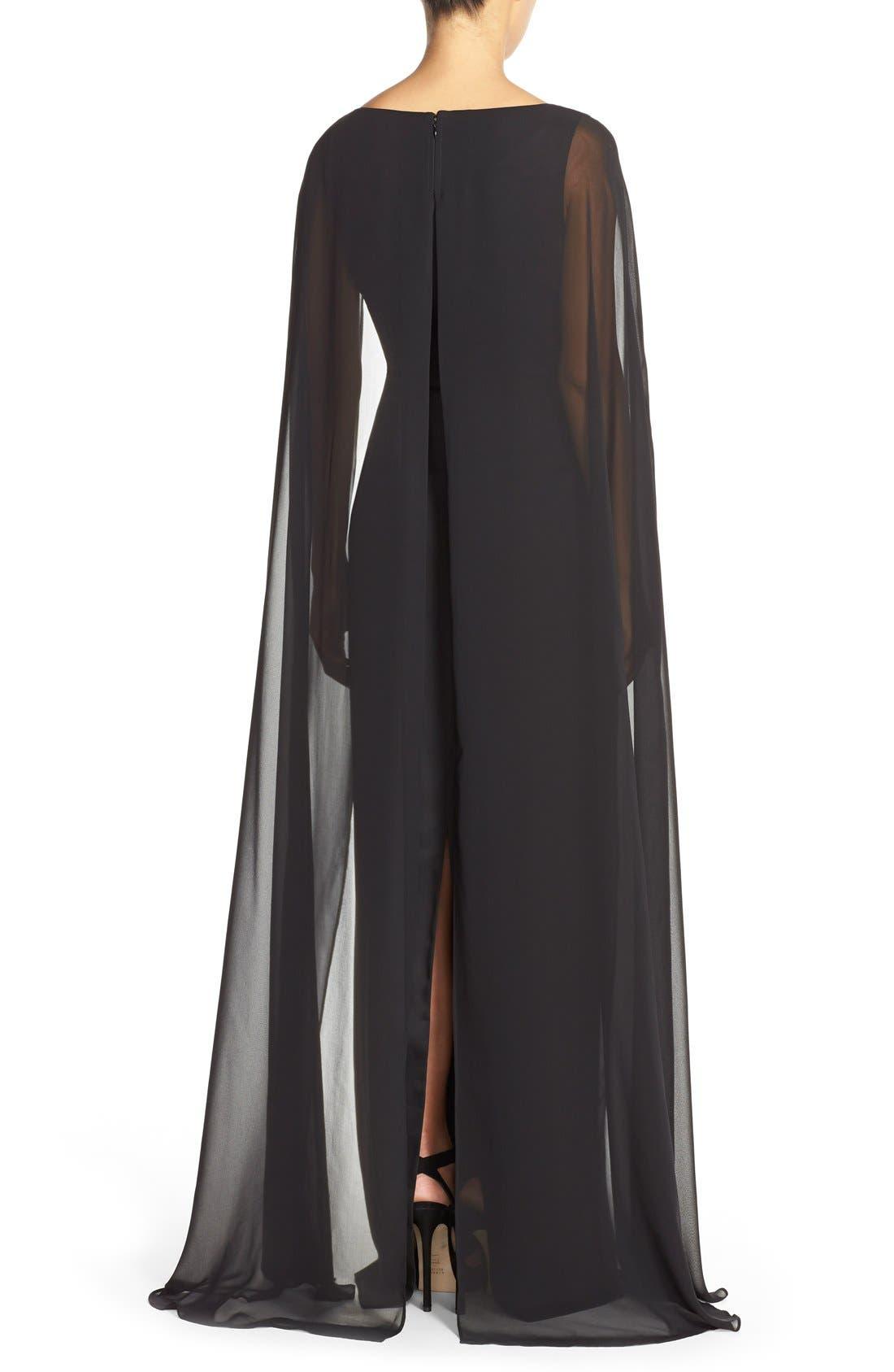 Alternate Image 2  - Adrianna PapellSatin Column Gown withChiffon Cape