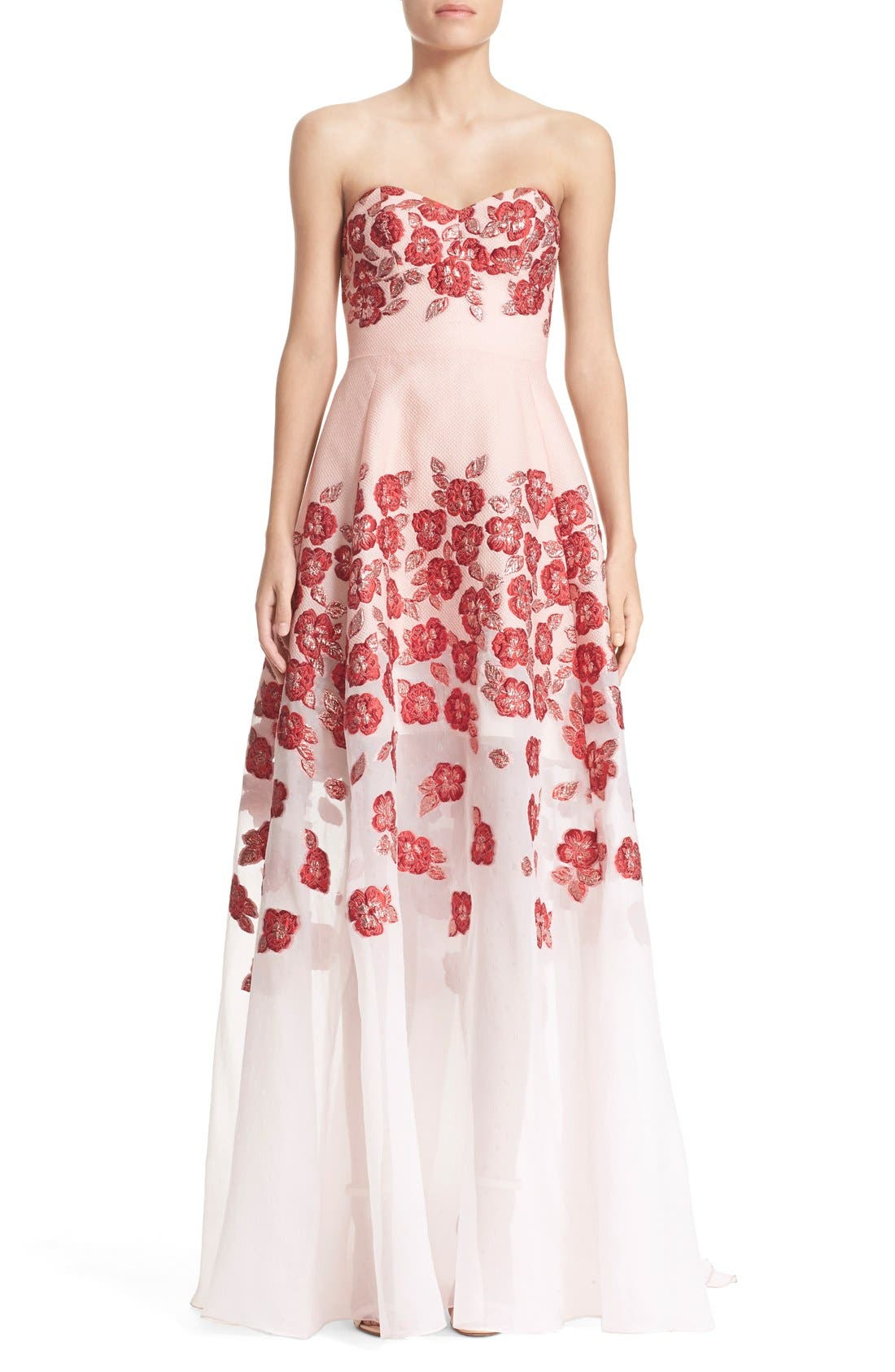 Alternate Image 1 Selected - Lela Rose Strapless Floral FilCoupéGown