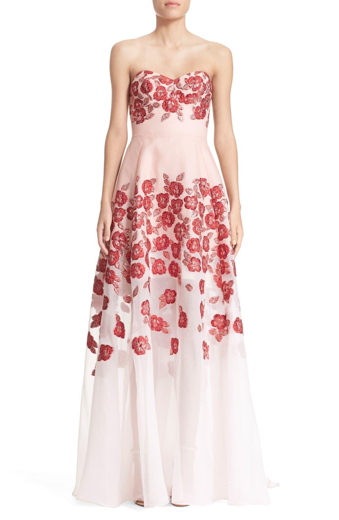 Main Image - Lela Rose Strapless Floral FilCoupéGown
