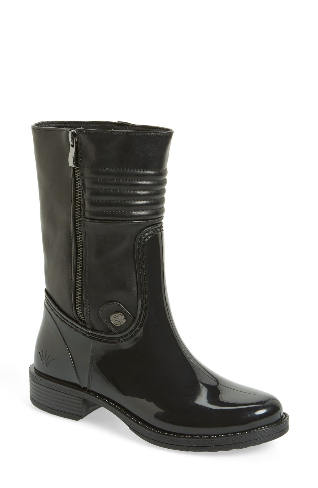 POSH WELLIES 'Calcite' Moto Rain Boot