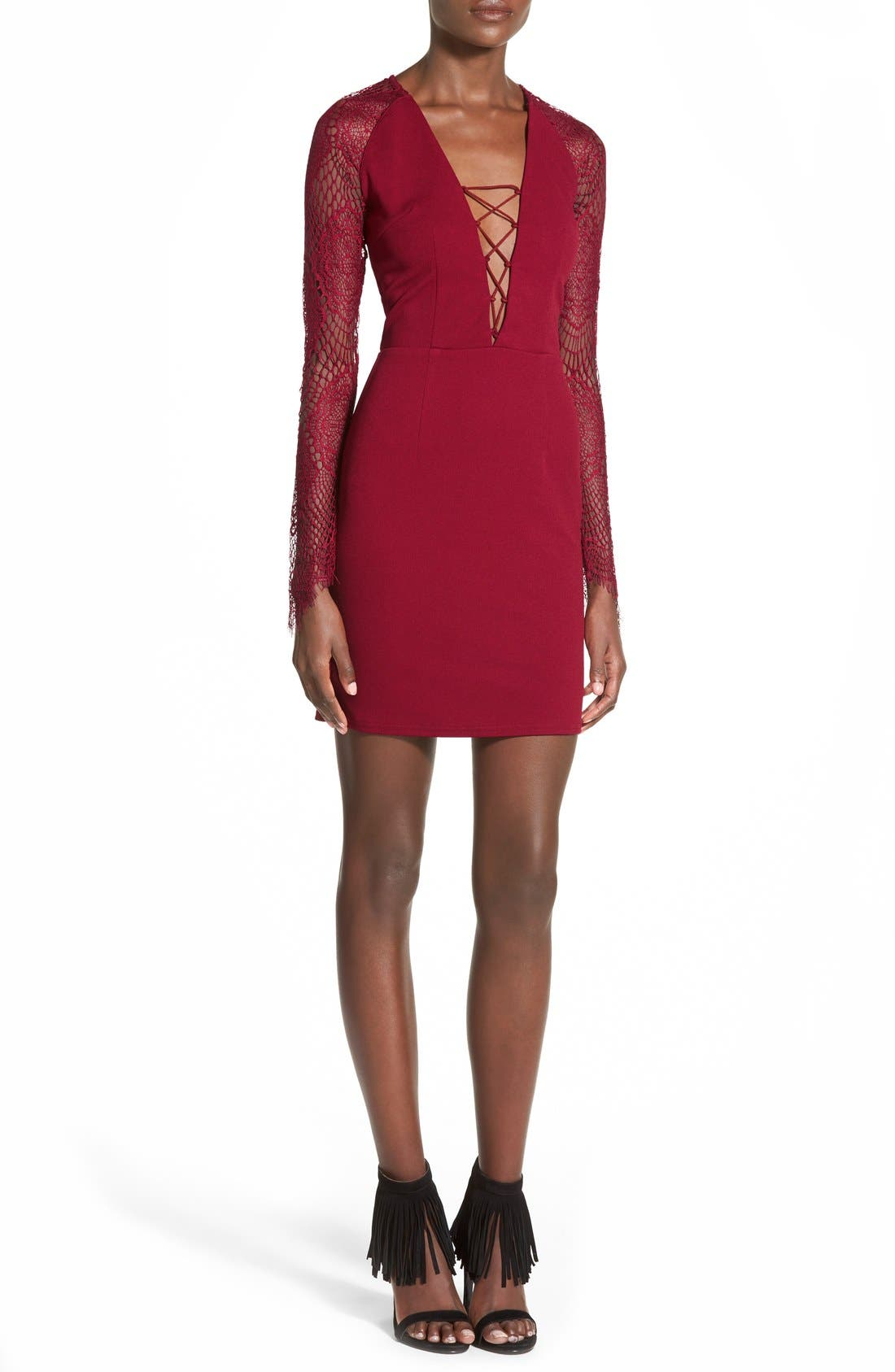 Alternate Image 1 Selected - Missguided Lace-Up Body-Con Dress