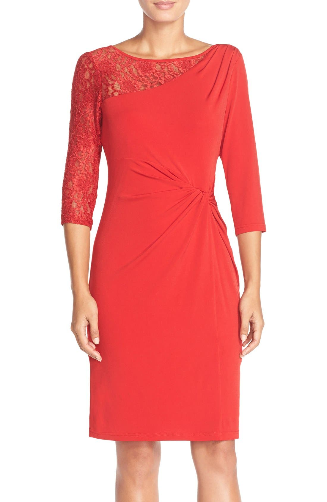 Alternate Image 1 Selected - Ellen Tracy Lace Sleeve Jersey Sheath Dress