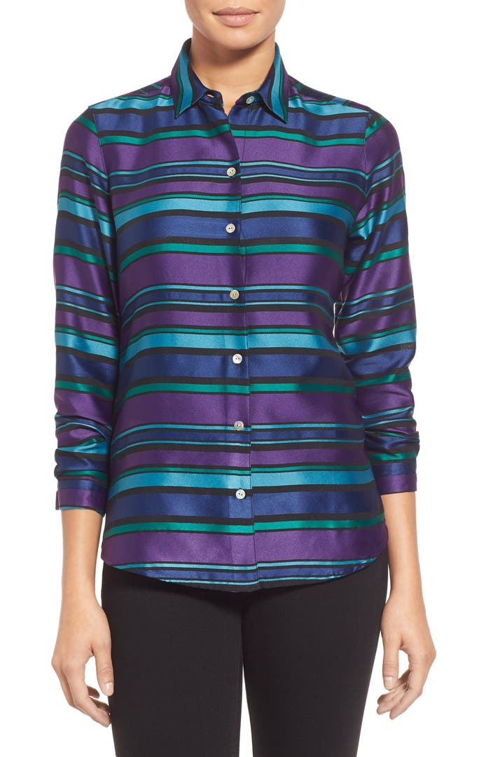 Foxcroft satin stripe wrinkle free shirt regular petite for How do wrinkle free shirts work