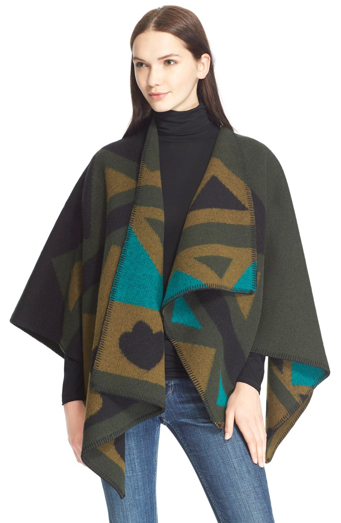 Main Image - Burberry Brit Angular Patchwork Wool & CashmerePoncho