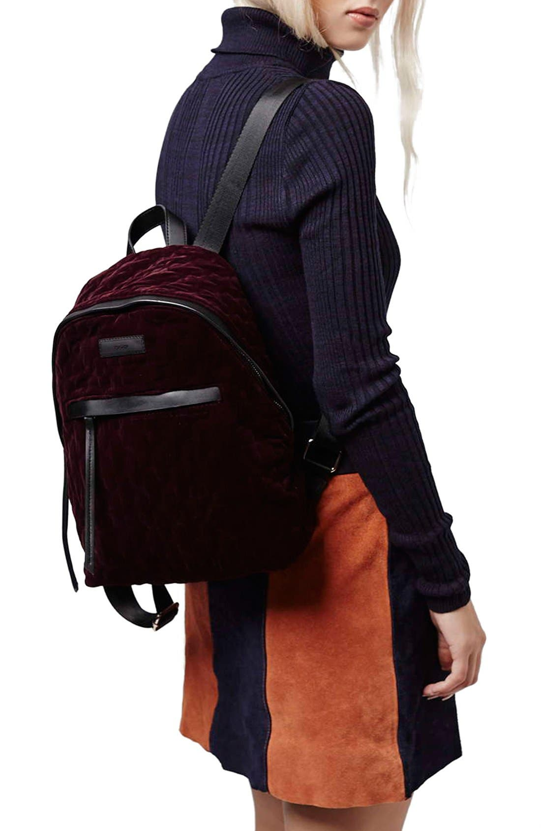 Alternate Image 2  - Topshop 'Bristol' Velvet Backpack
