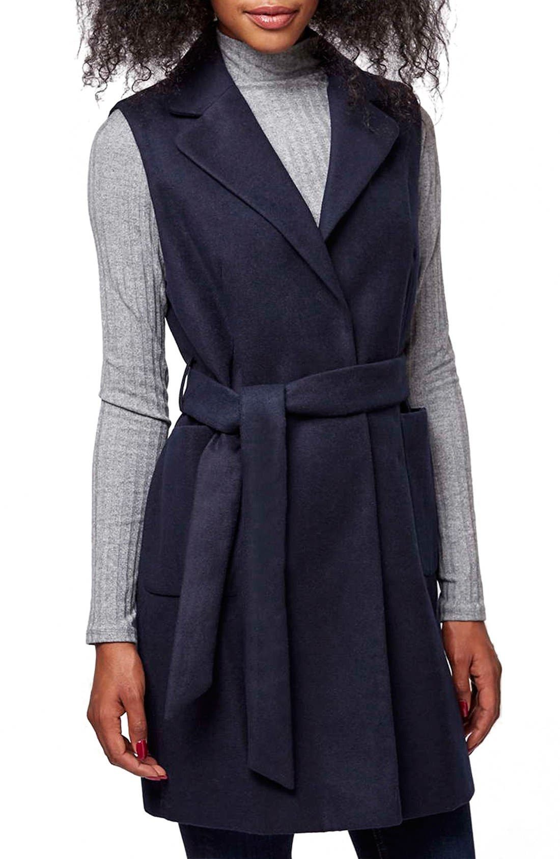 Alternate Image 1 Selected - Topshop Sleeveless Belted Coat (Petite)