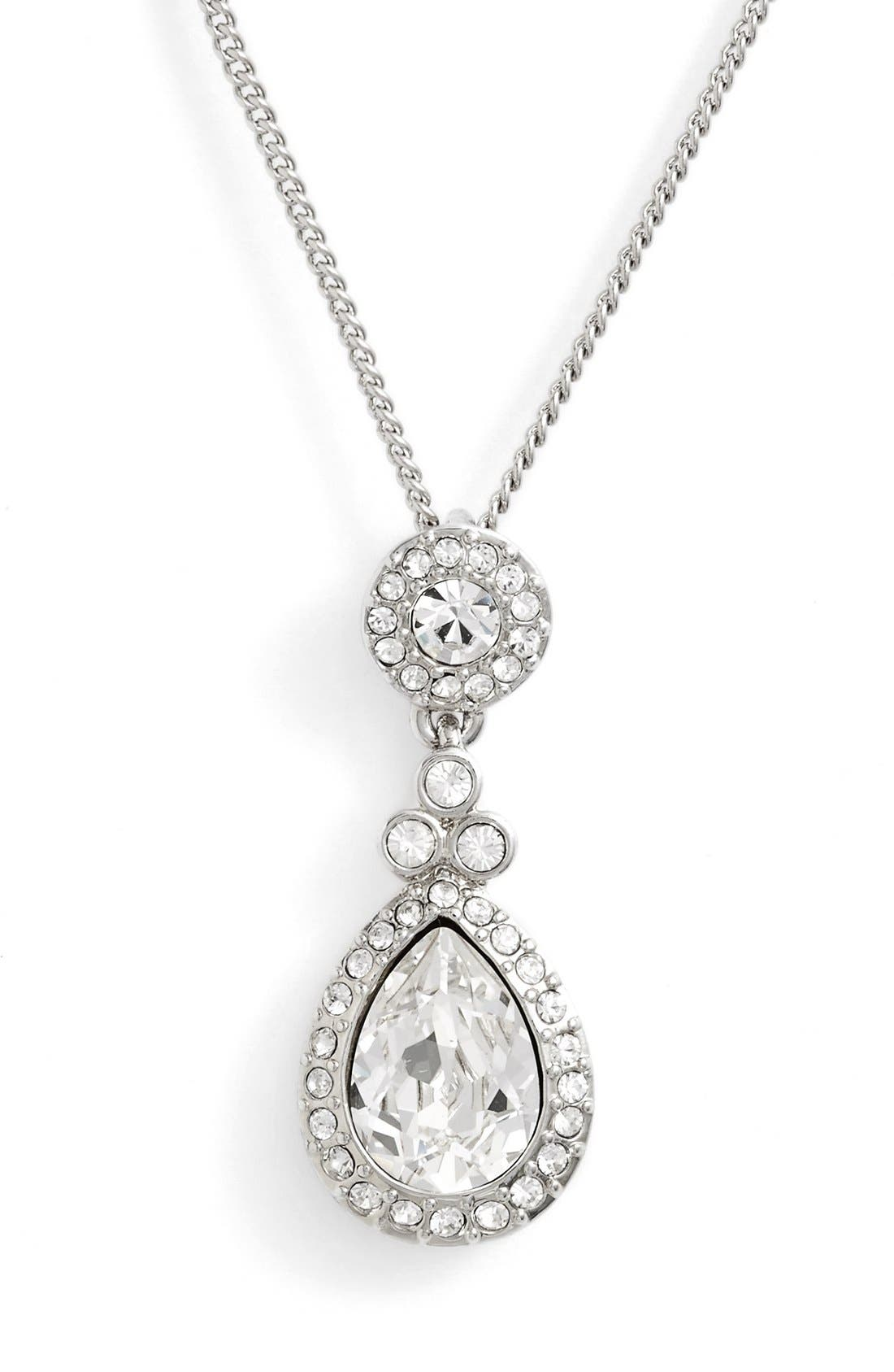 GIVENCHY Crystal Teardrop Pendant Necklace