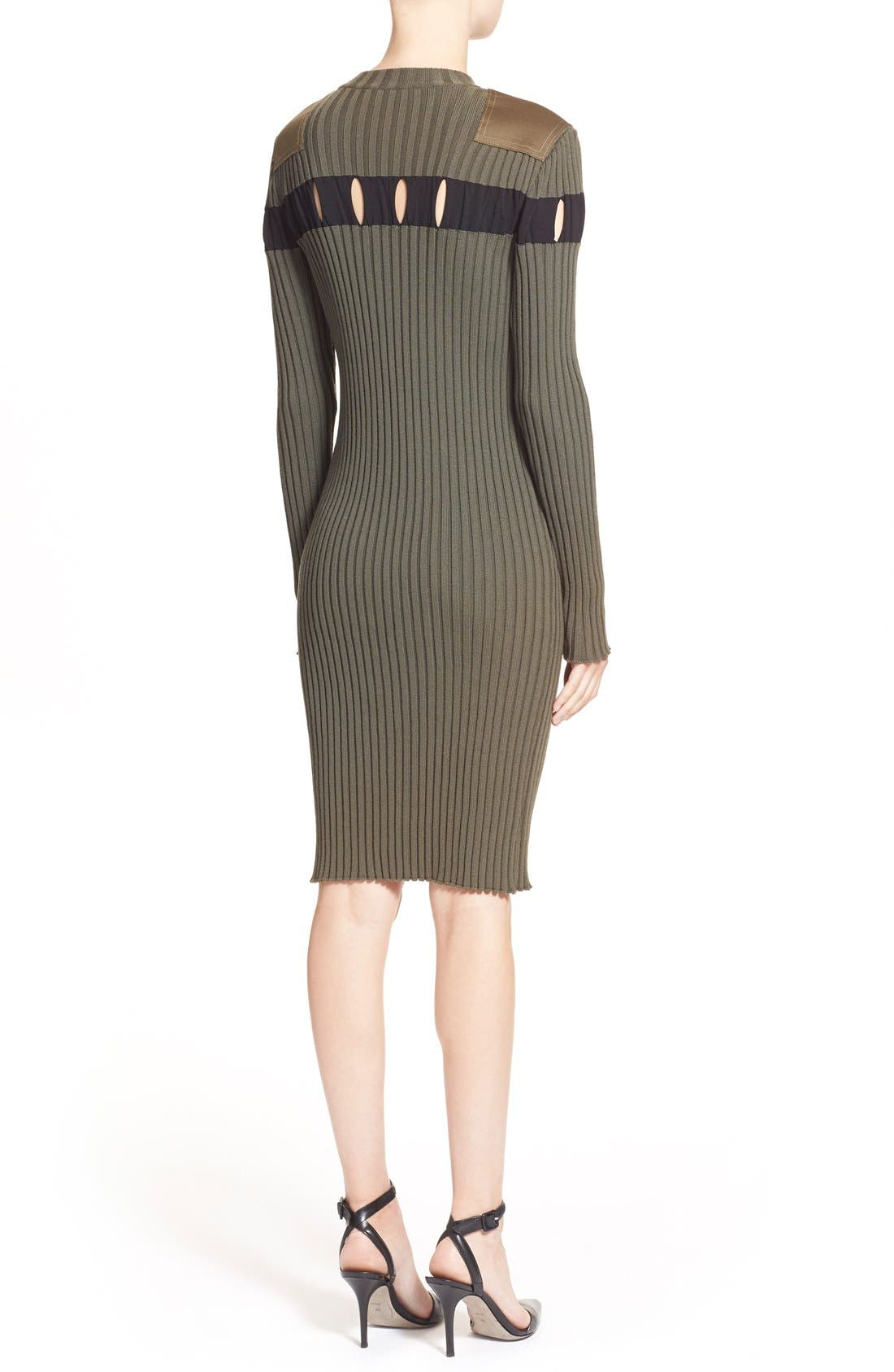 Alternate Image 2  - Alexander Wang Perforated Stripe Rib Knit Wool Dress