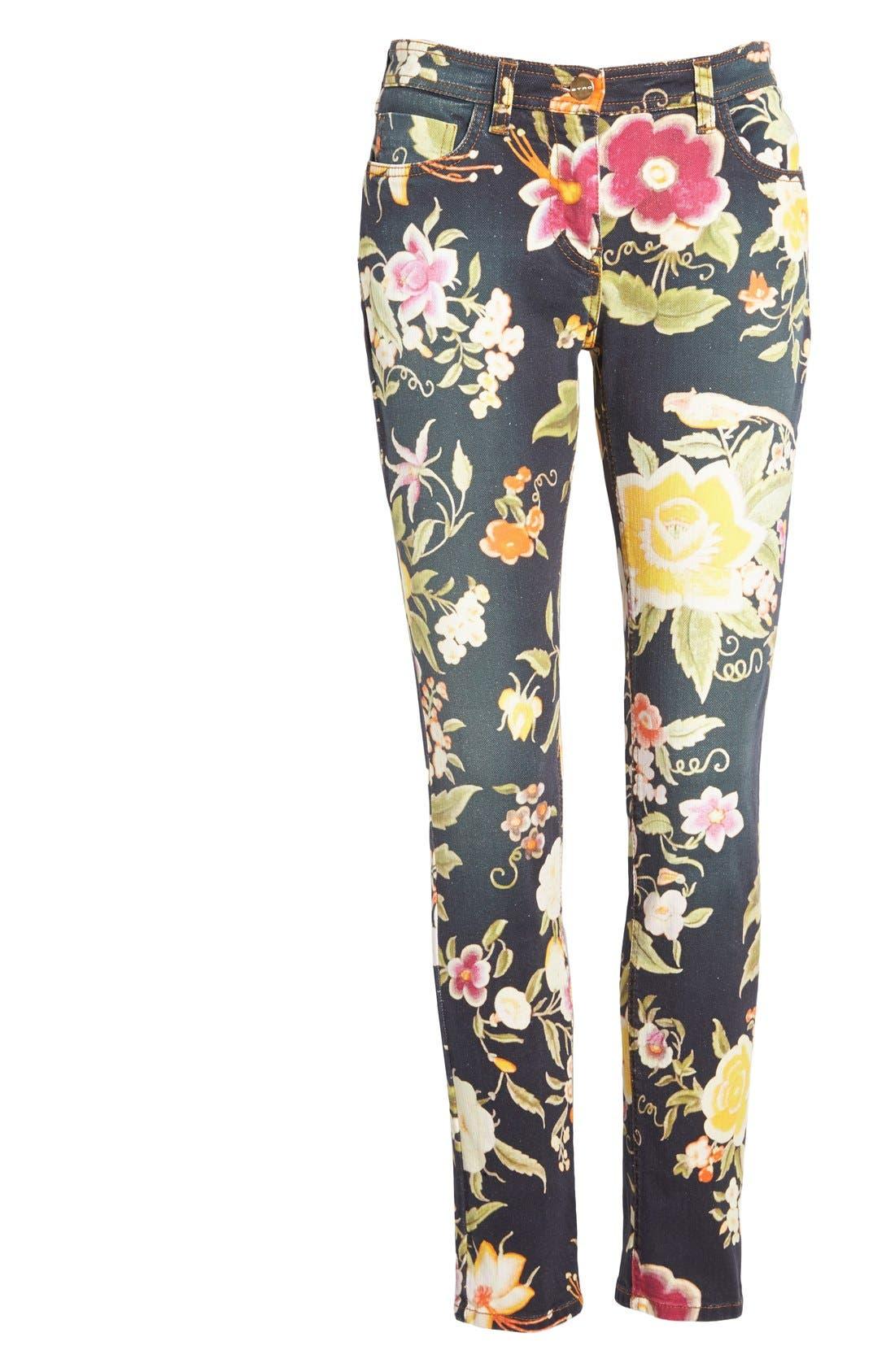 Alternate Image 4  - Etro Floral Print Skinny Fit Stretch Cotton Jeans