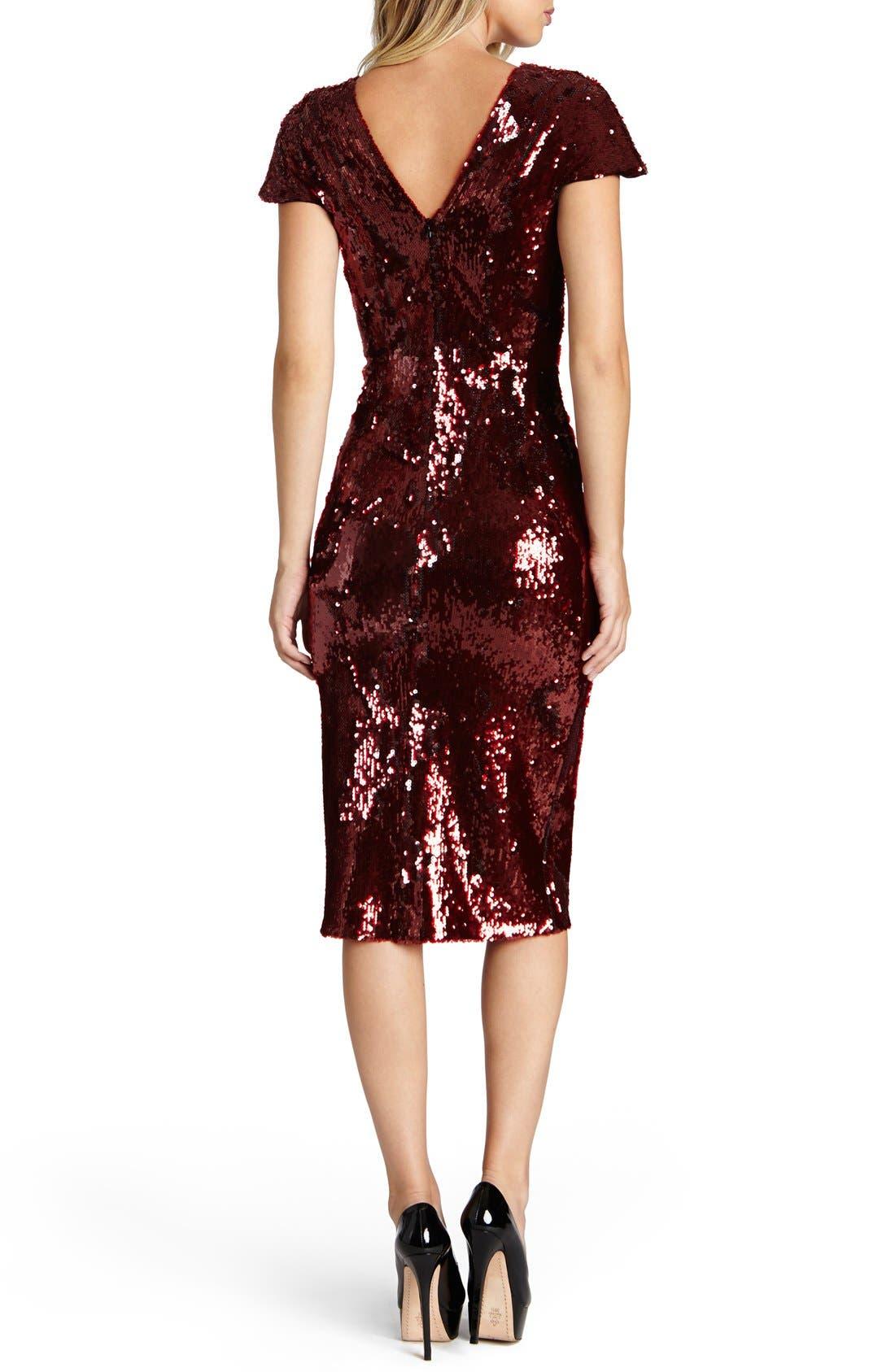 Alternate Image 2  - Dress the Population Elizabeth Sequin Midi Dress