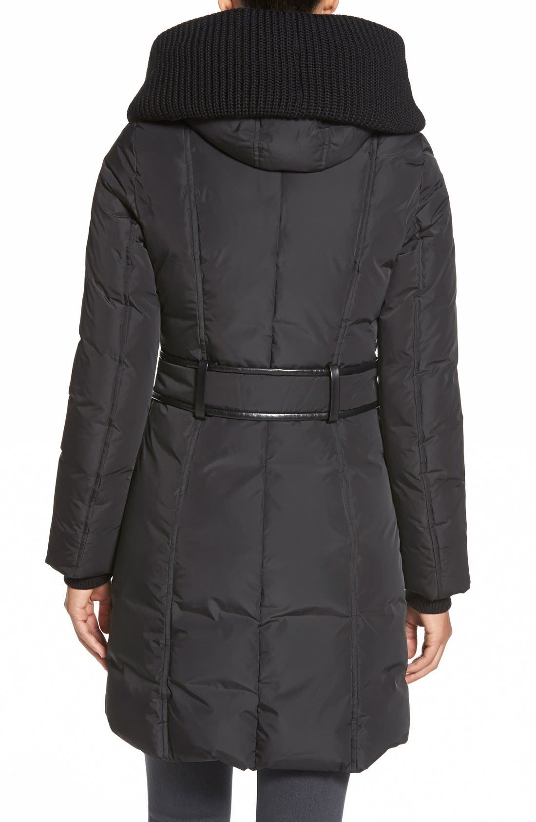 Alternate Image 2  - Mackage Knit Trim Hooded Asymmetrical Zip Long Down Coat