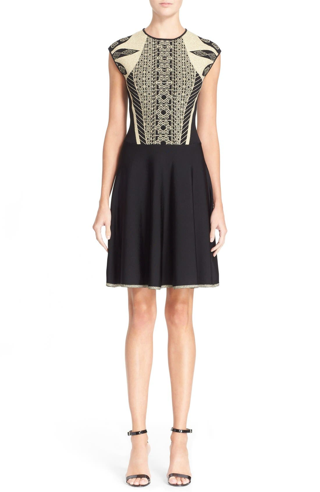 Main Image - Ted Baker London 'Jenkin' Metallic Jacquard Fit & Flare Dress