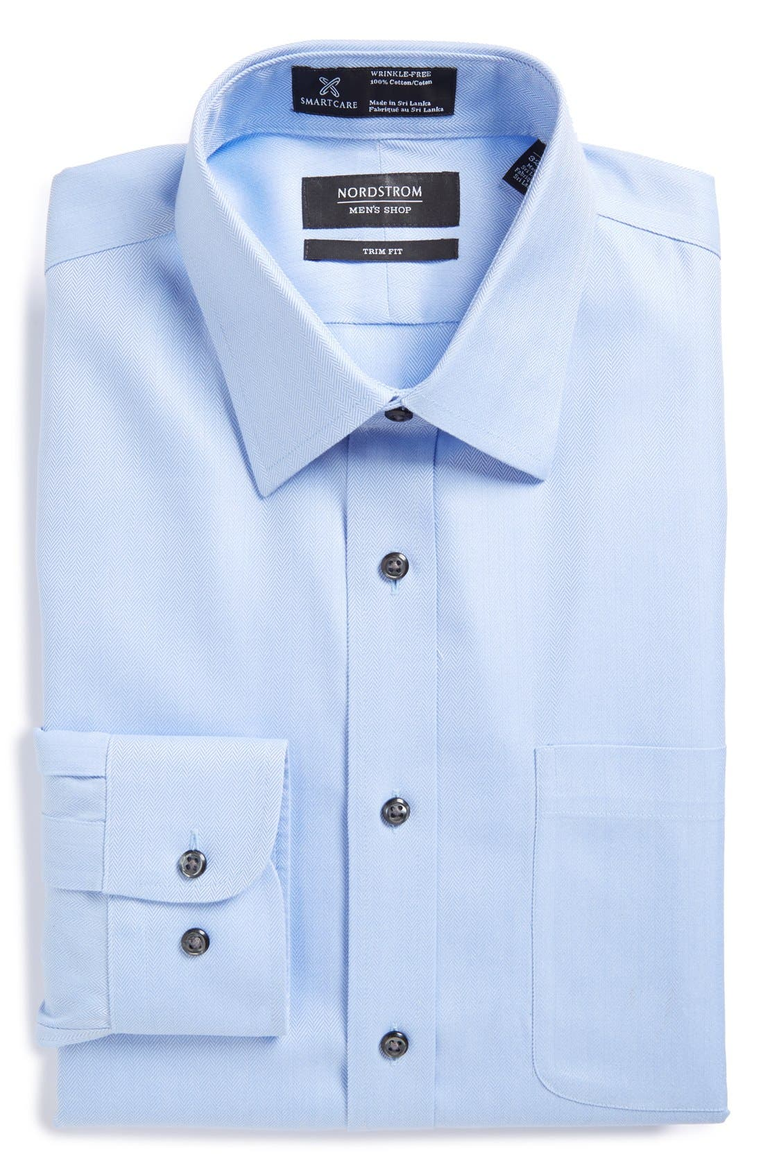 Nordstrom Menu0026#39;s Shop Smartcareu2122 Trim Fit Herringbone Dress Shirt | Nordstrom