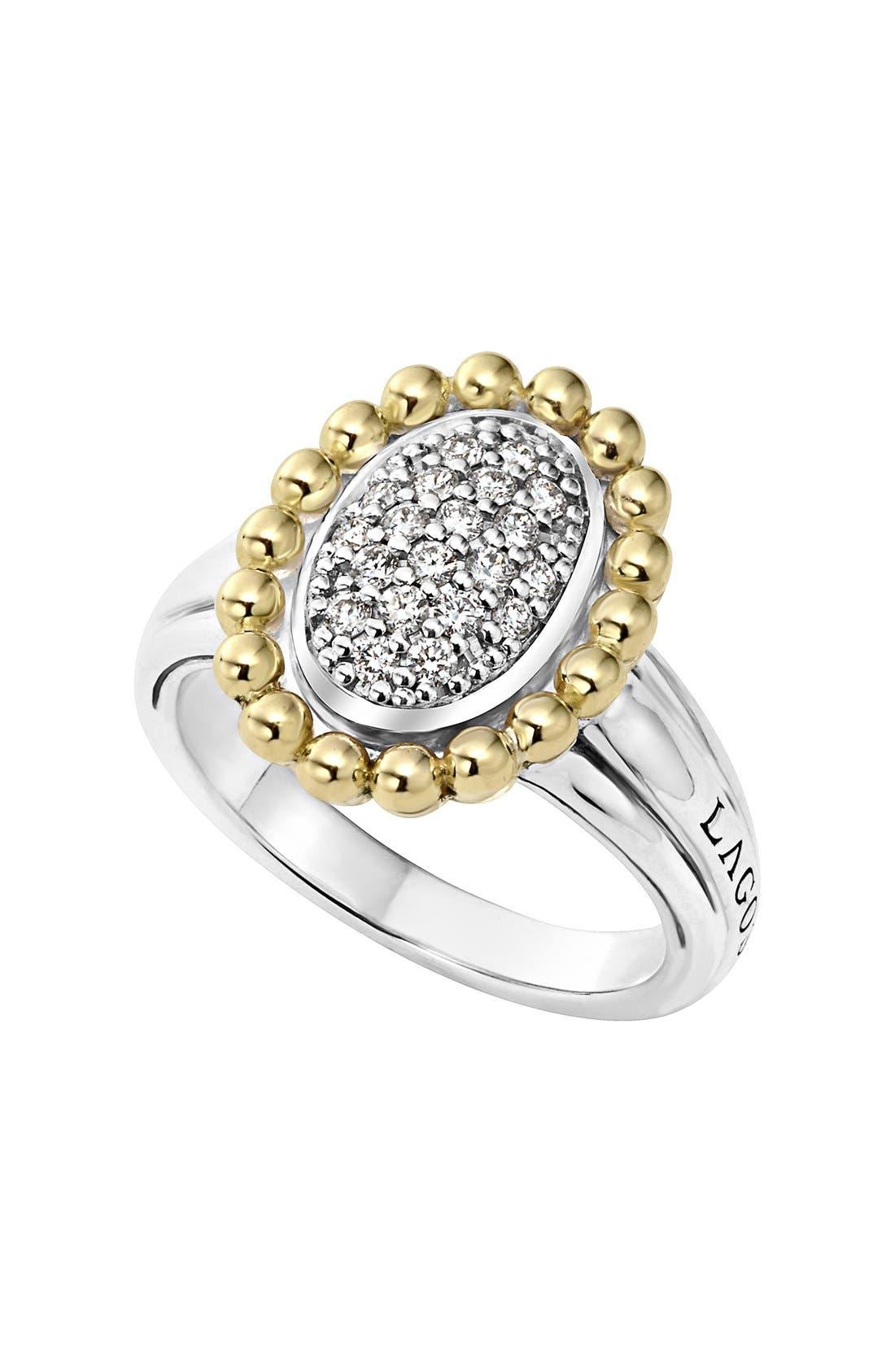 LAGOS Diamond Caviar Oval Ring
