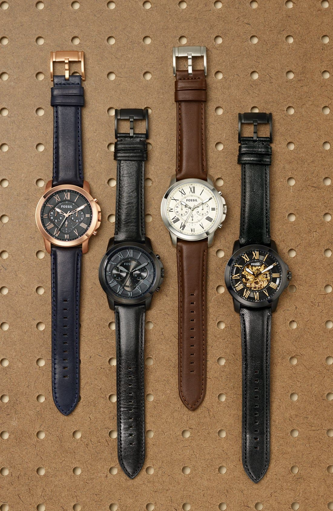 Alternate Image 6  - Fossil 'Grant' Round Chronograph Leather Strap Watch, 44mm