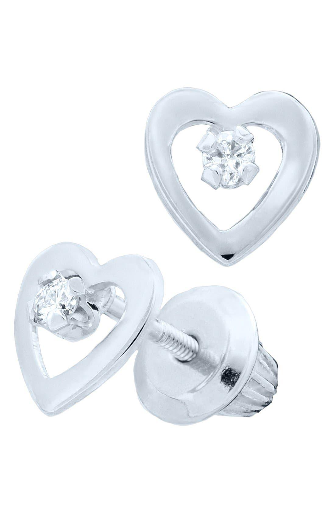 Alternate Image 2  - Mignonette 14k White Gold & Diamond Heart Earrings (Baby Girls)