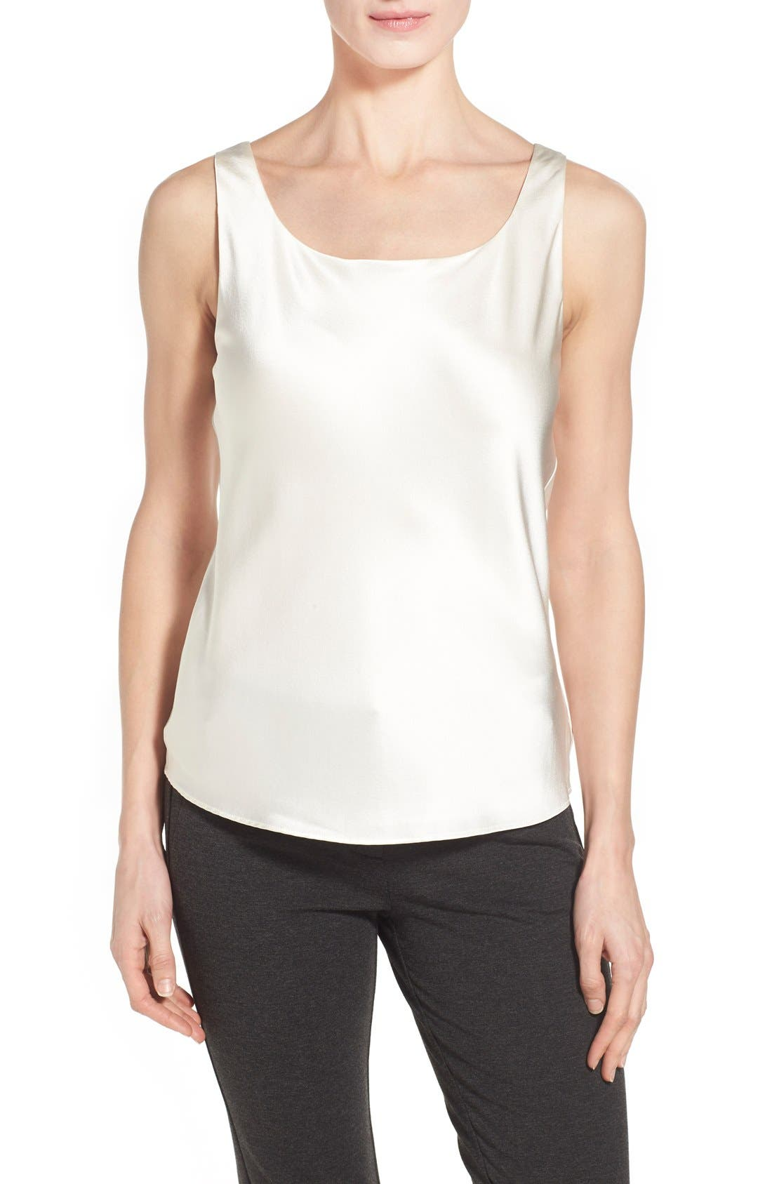 Main Image - Lafayette 148 New York Silk Charmeuse Tank (Regular & Petite)
