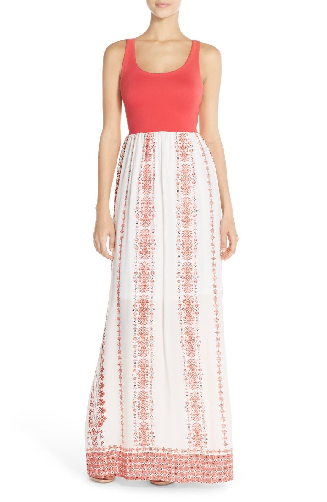 FRAICHE BY J Floral Print Cutout Maxi Dress