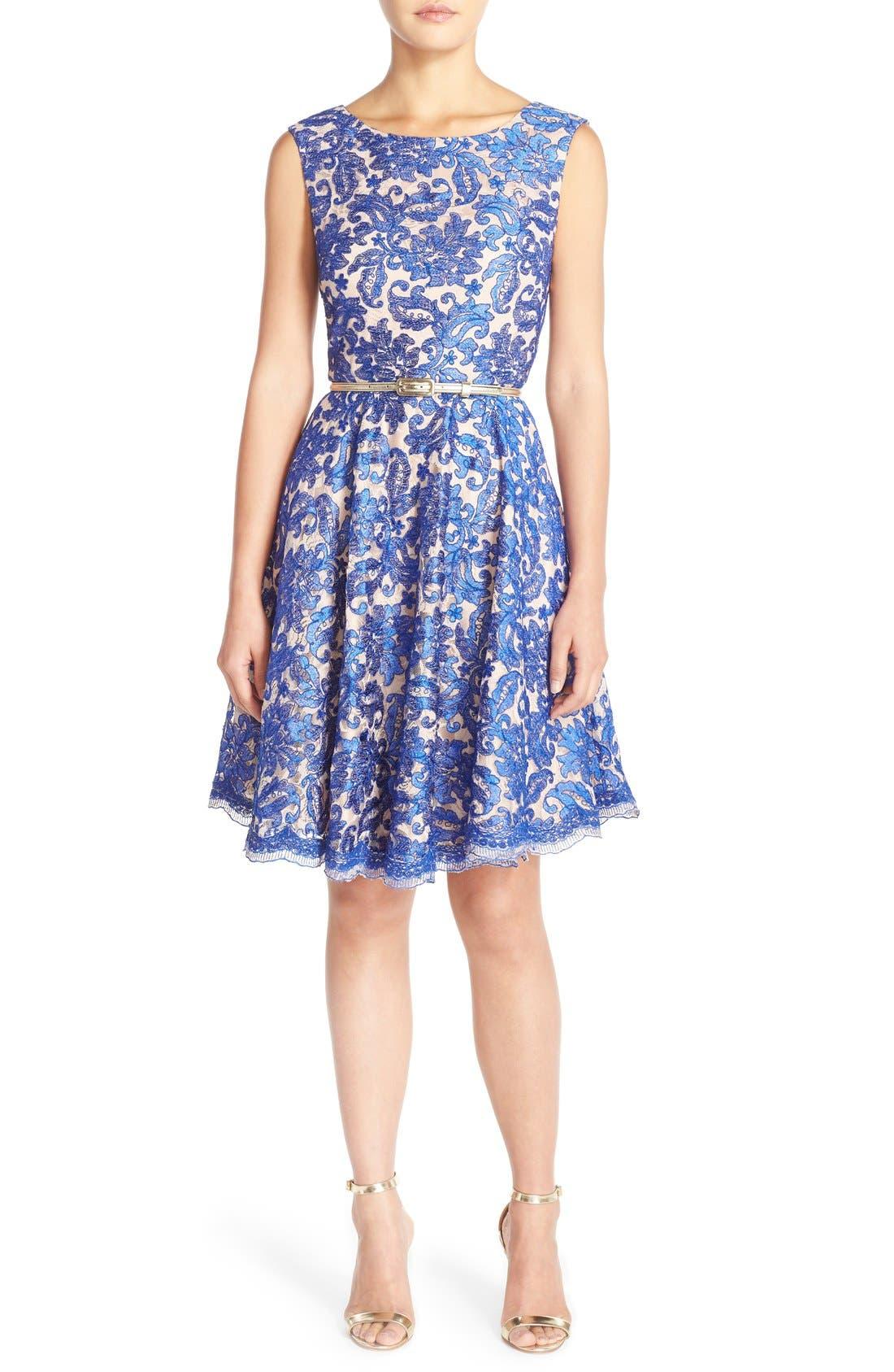 Alternate Image 4  - Eliza J Embroidered Lace Fit & Flare Dress (Regular & Petite)