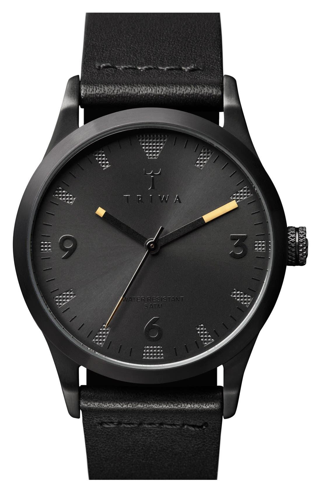 Triwa 'Sort of Black' Leather Strap Watch, 38mm