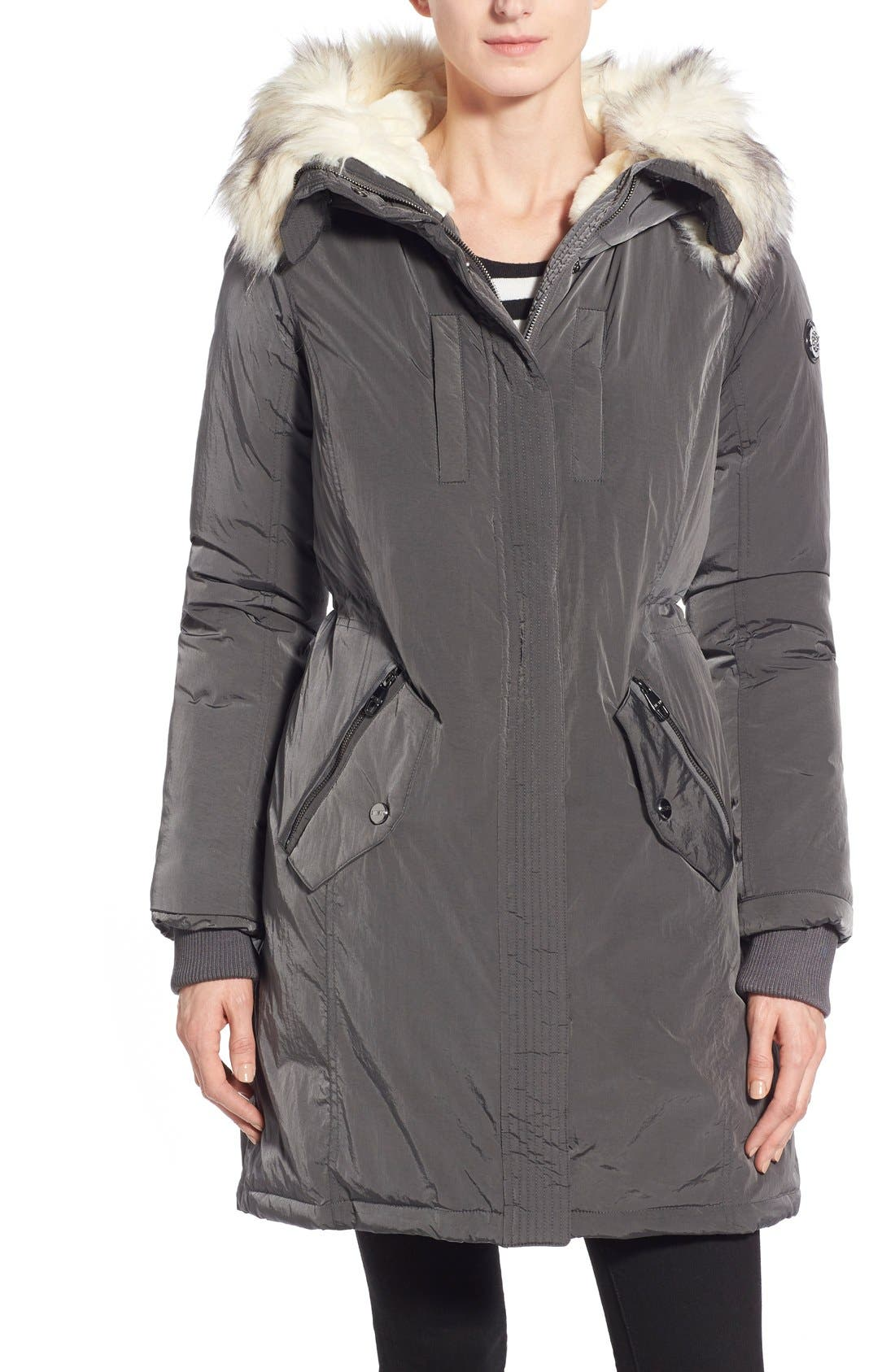 Alternate Image 1 Selected - Steve Madden Split Hood Down Parka with Faux Fur Trim