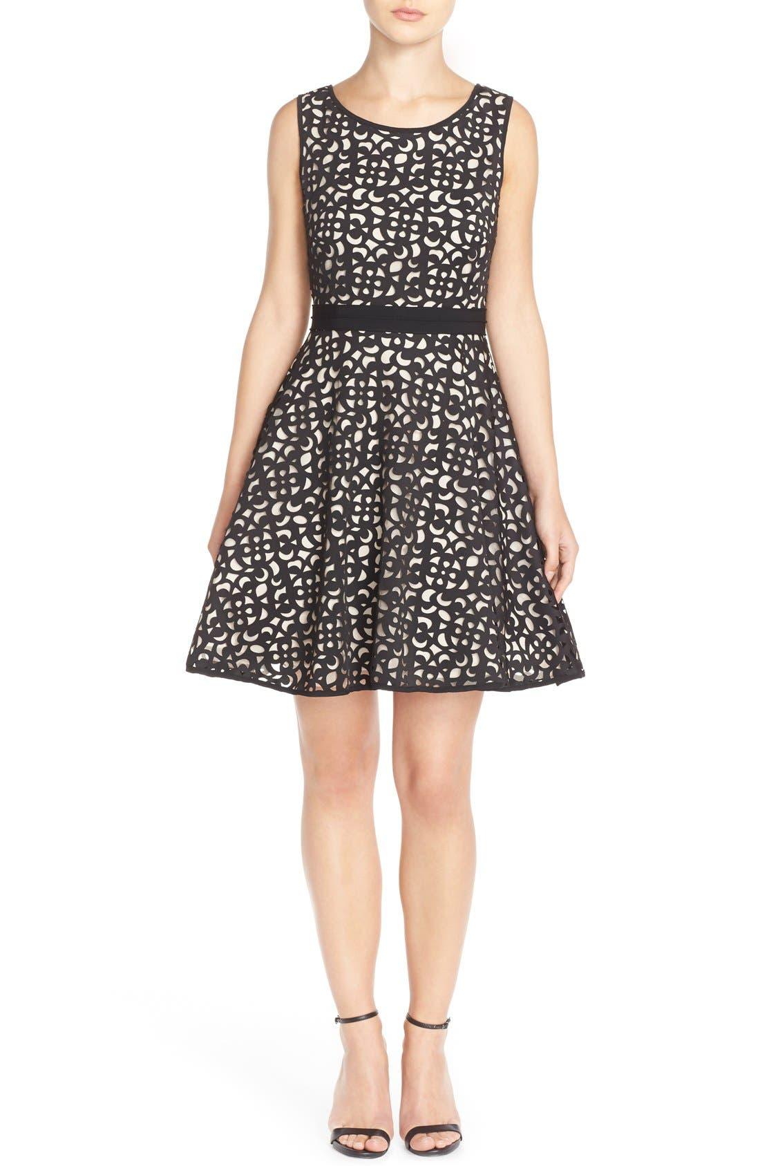 Alternate Image 4  - XscapeLaser Cut Scuba Fit & Flare Dress