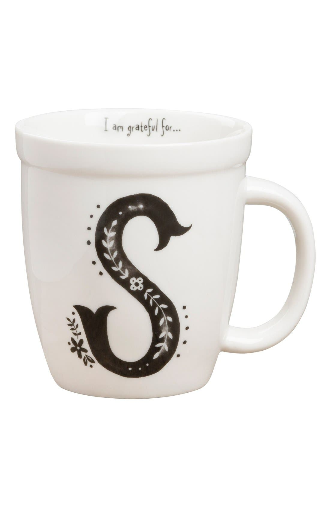 Alternate Image 1 Selected - Natural Life 'I Am Grateful For' Monogram Coffee Mug