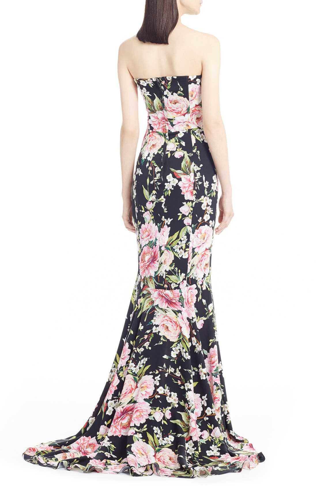 Alternate Image 2  - Dolce&Gabbana Floral Print Strapless Charmeuse Gown