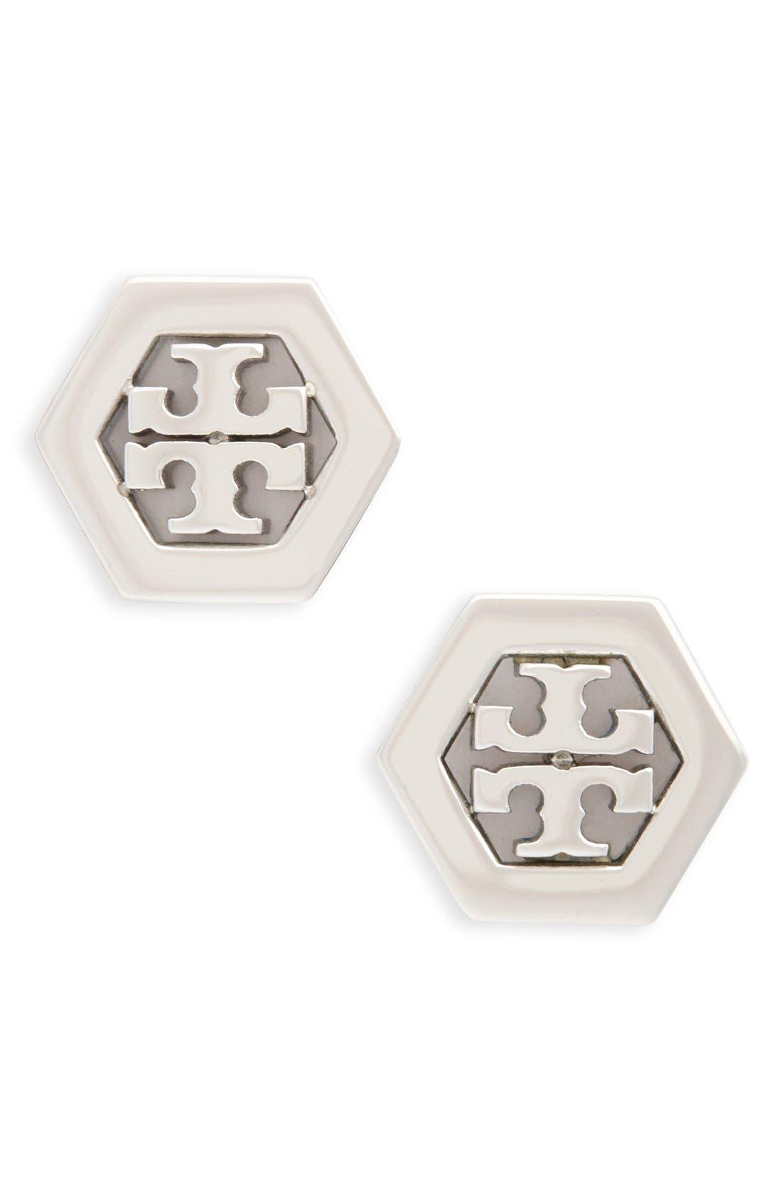 Main Image - Tory Burch Logo Hexagon Stud Earrings