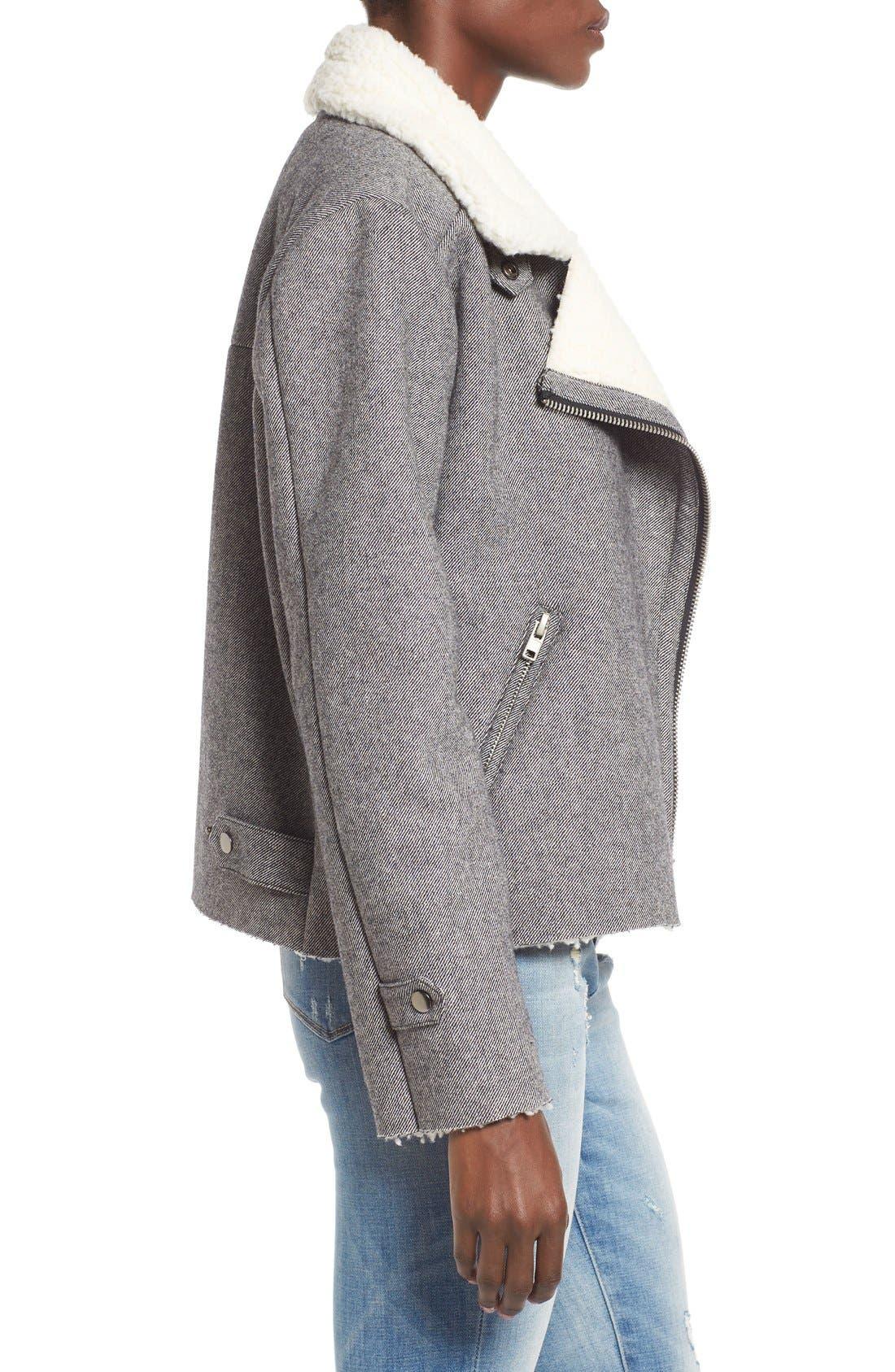 Alternate Image 3  - J.O.A. Raw Edge Moto Jacket