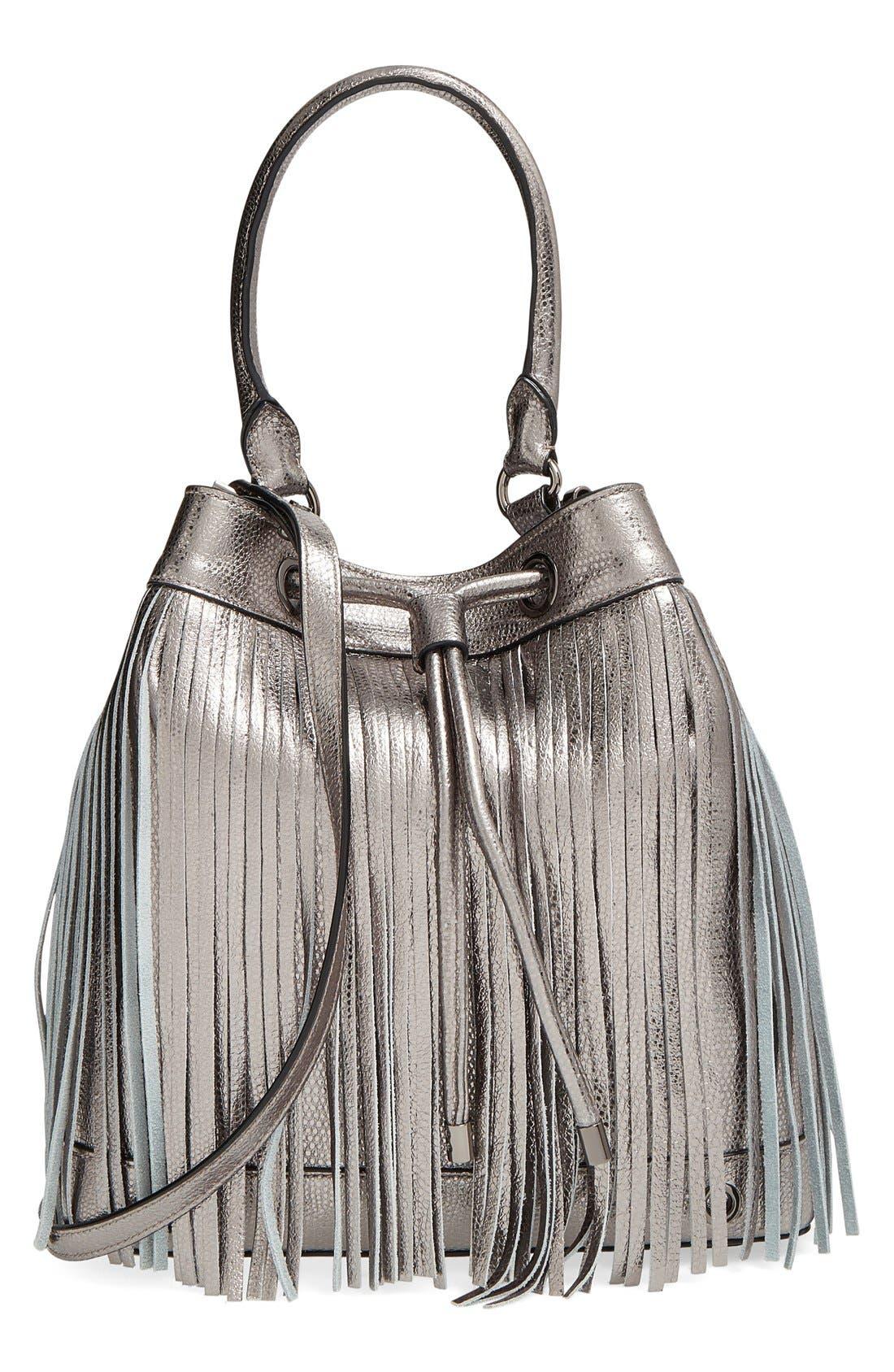 Alternate Image 1 Selected - Milly 'Large' Metallic Leather Fringe Bucket Bag