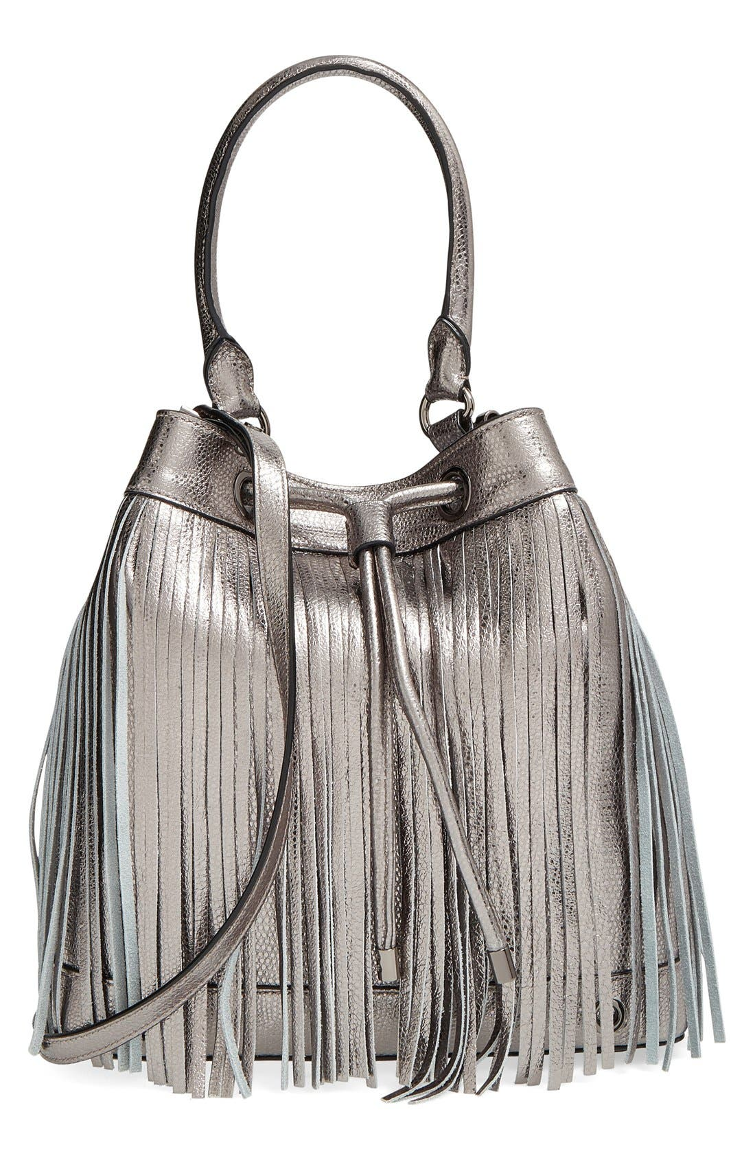 Main Image - Milly 'Large' Metallic Leather Fringe Bucket Bag