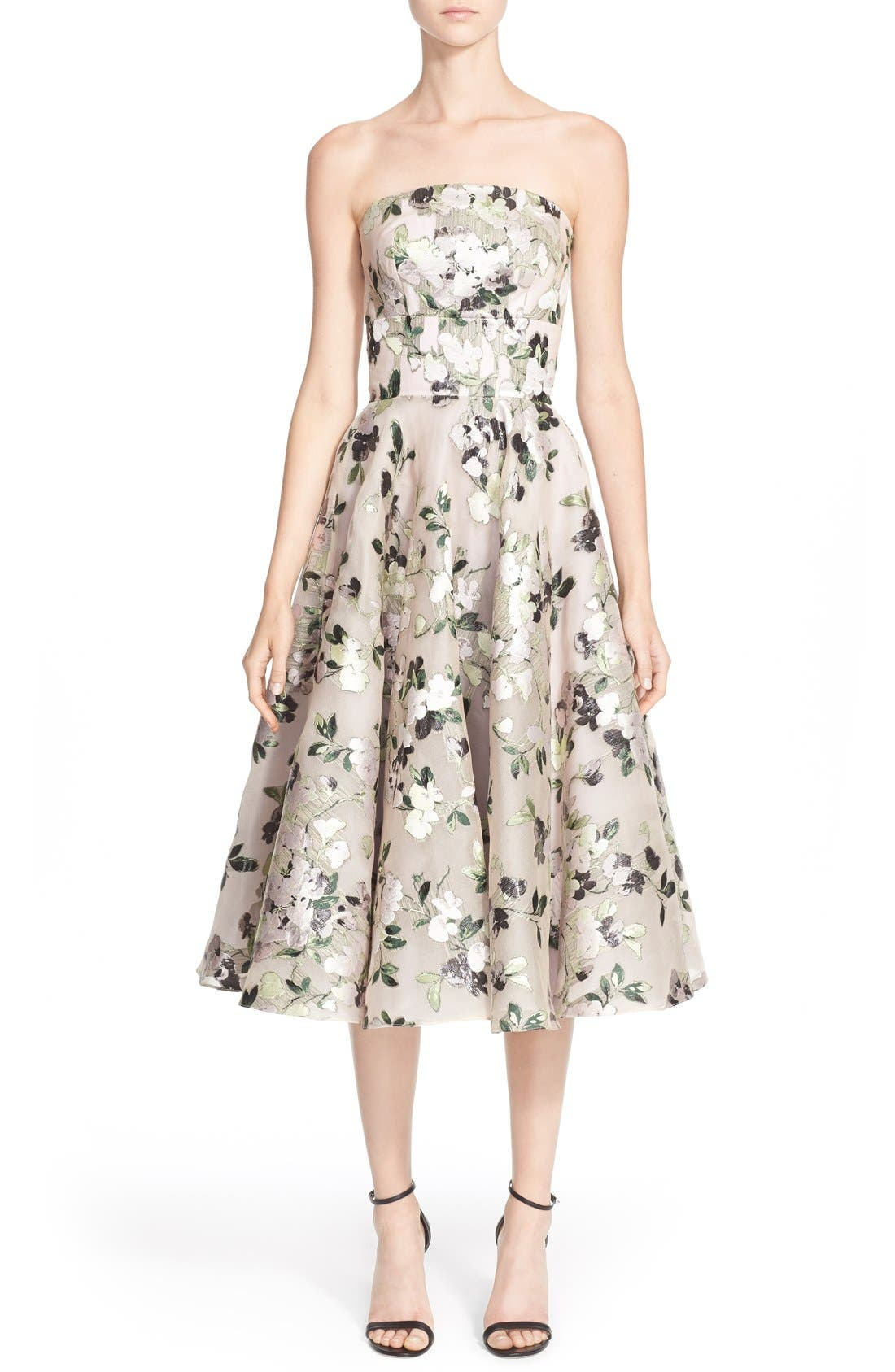 Alternate Image 1  - Alexander McQueen Floral Print Strapless Fit & Flare Dress