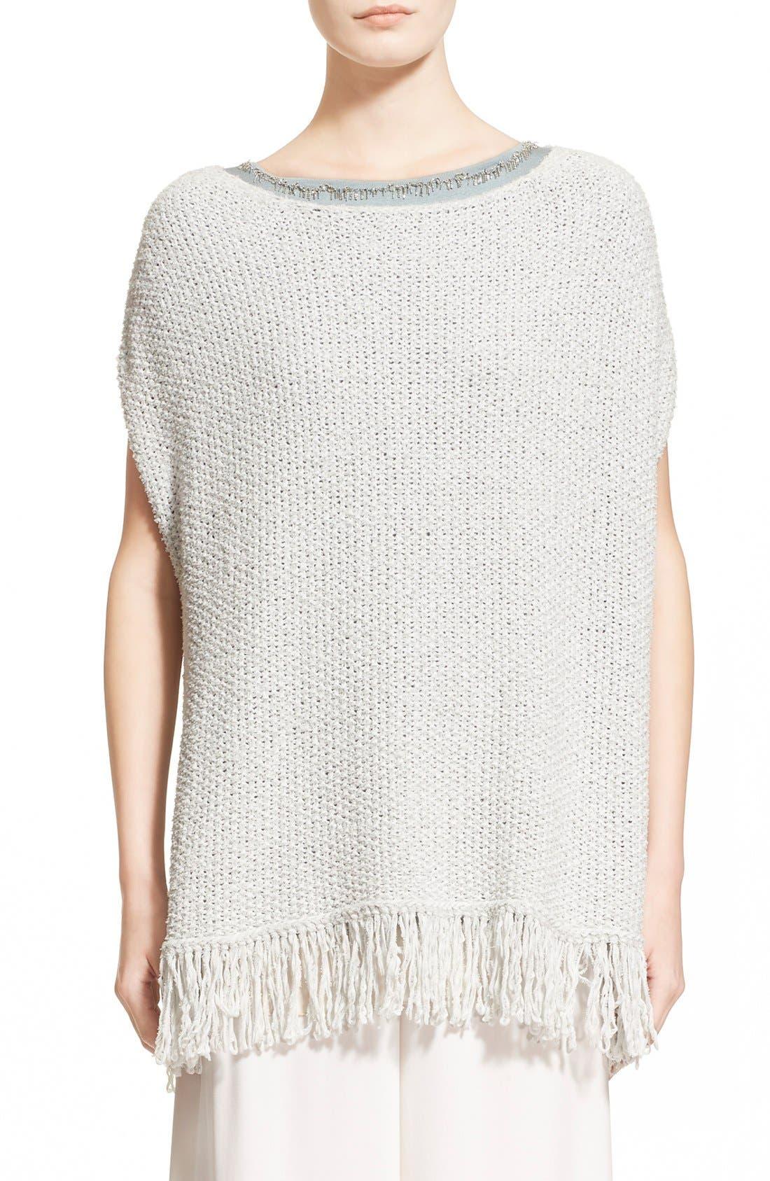 Main Image - Fabiana Filippi Fringe Trim Cotton Blend Poncho Sweater