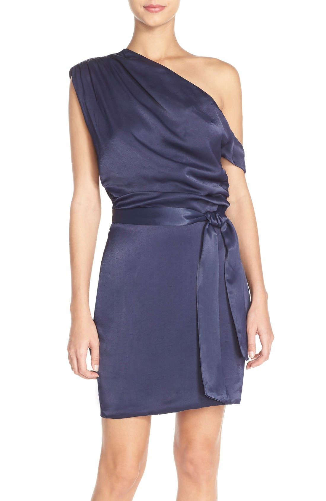 Main Image - Misha Collection 'Trista' One Shoulder Satin Sheath Dress