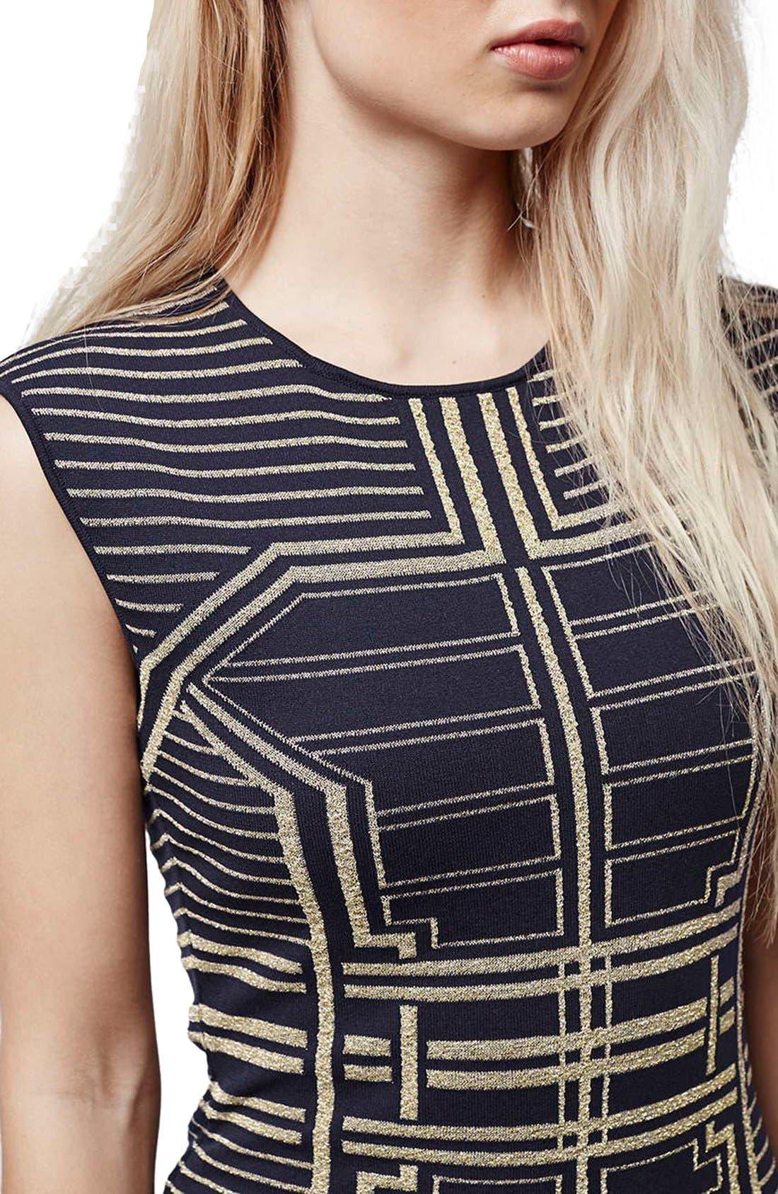 Alternate Image 5  - Topshop Metallic Geo Body-Con Dress
