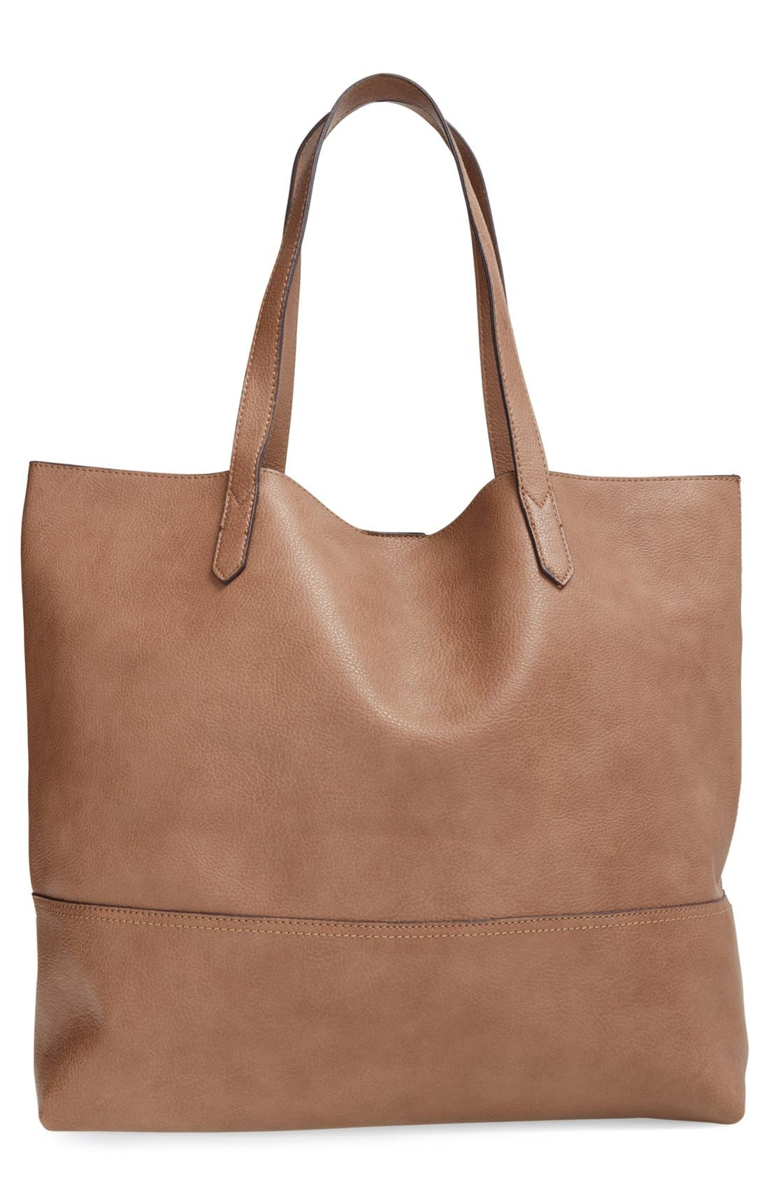 Alternate Image 1 Selected - Street Level 'Large' Faux Leather Shopper