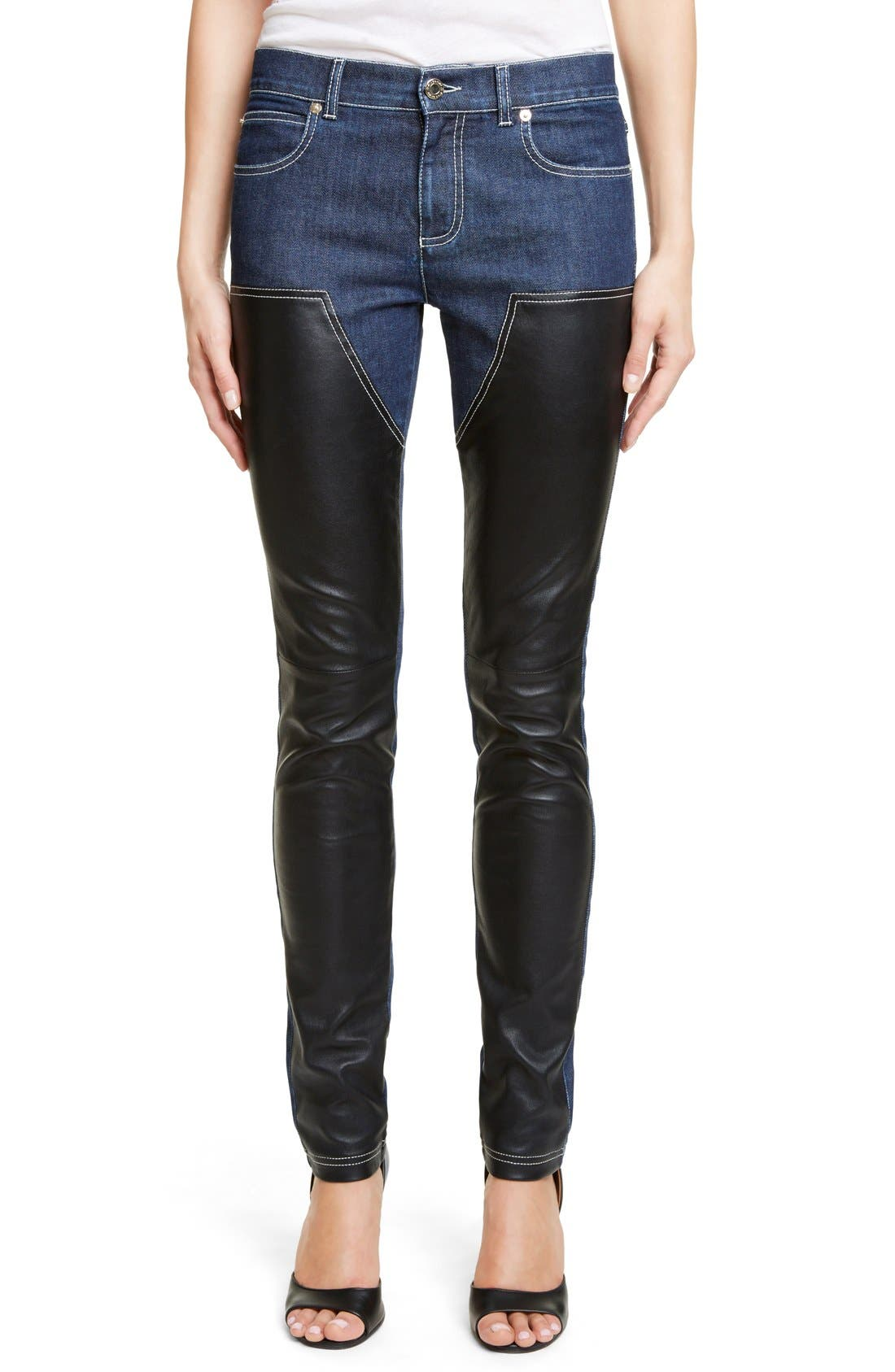 GIVENCHY Bonded Leather Trim Jeans