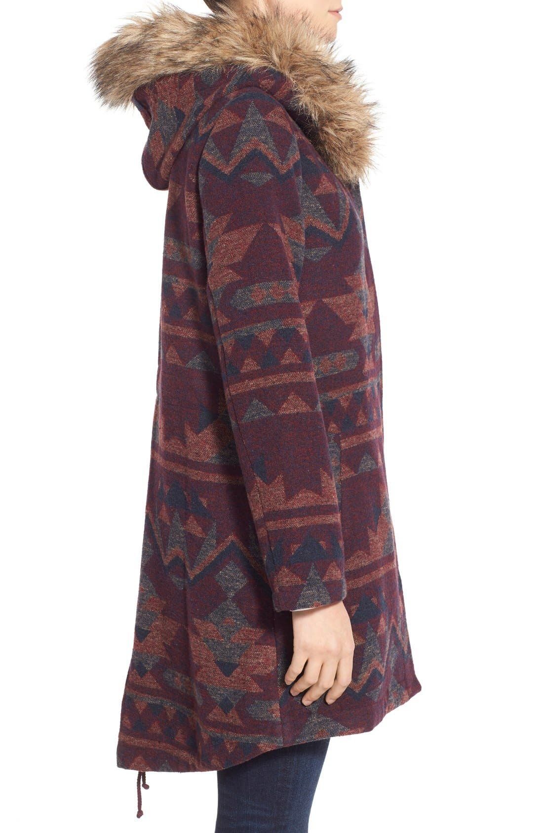 Alternate Image 3  - BB Dakota Faux Fur Trim Print Hooded Coat