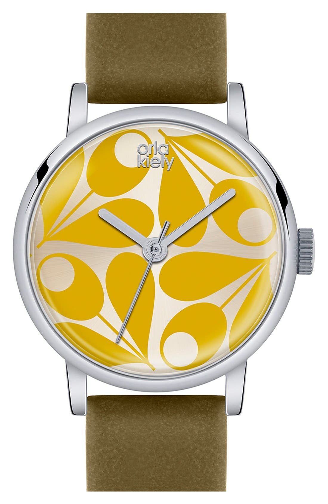 Alternate Image 1 Selected - Orla Kiely 'Patricia' Leather Strap Watch, 29mm