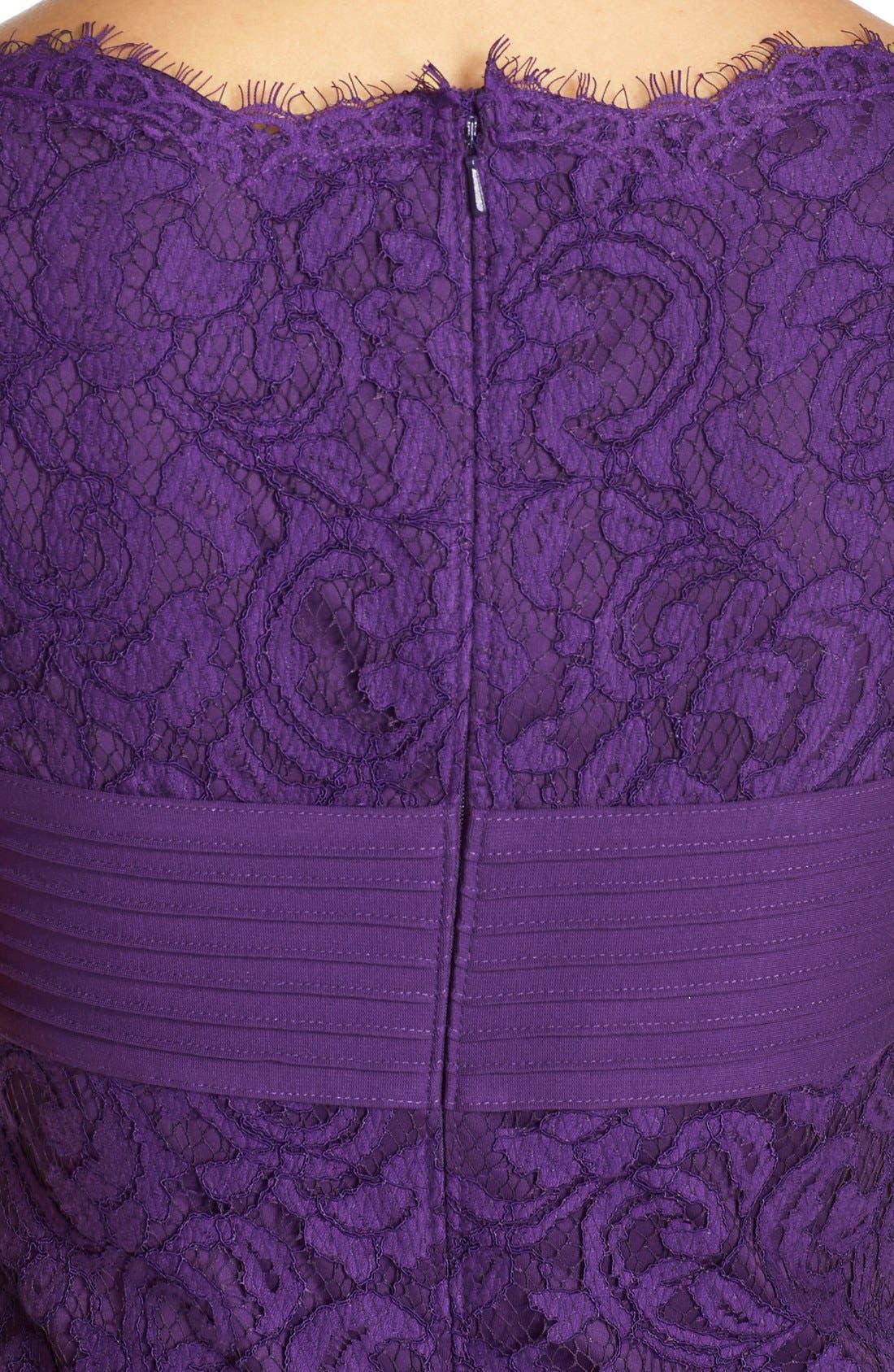 Alternate Image 5  - Tadashi Shoji Crisscross Waist Lace Sheath Dress (Regular & Petite)