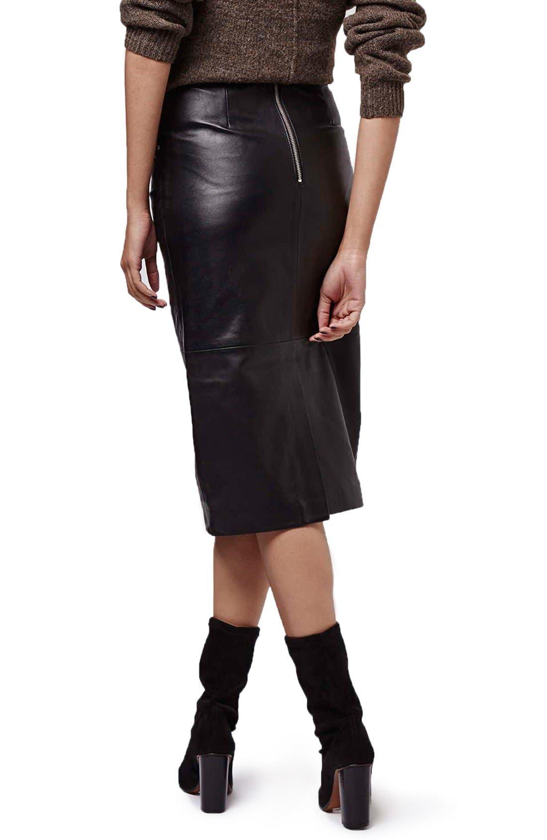 Alternate Image 3  - Topshop Leather Midi Skirt