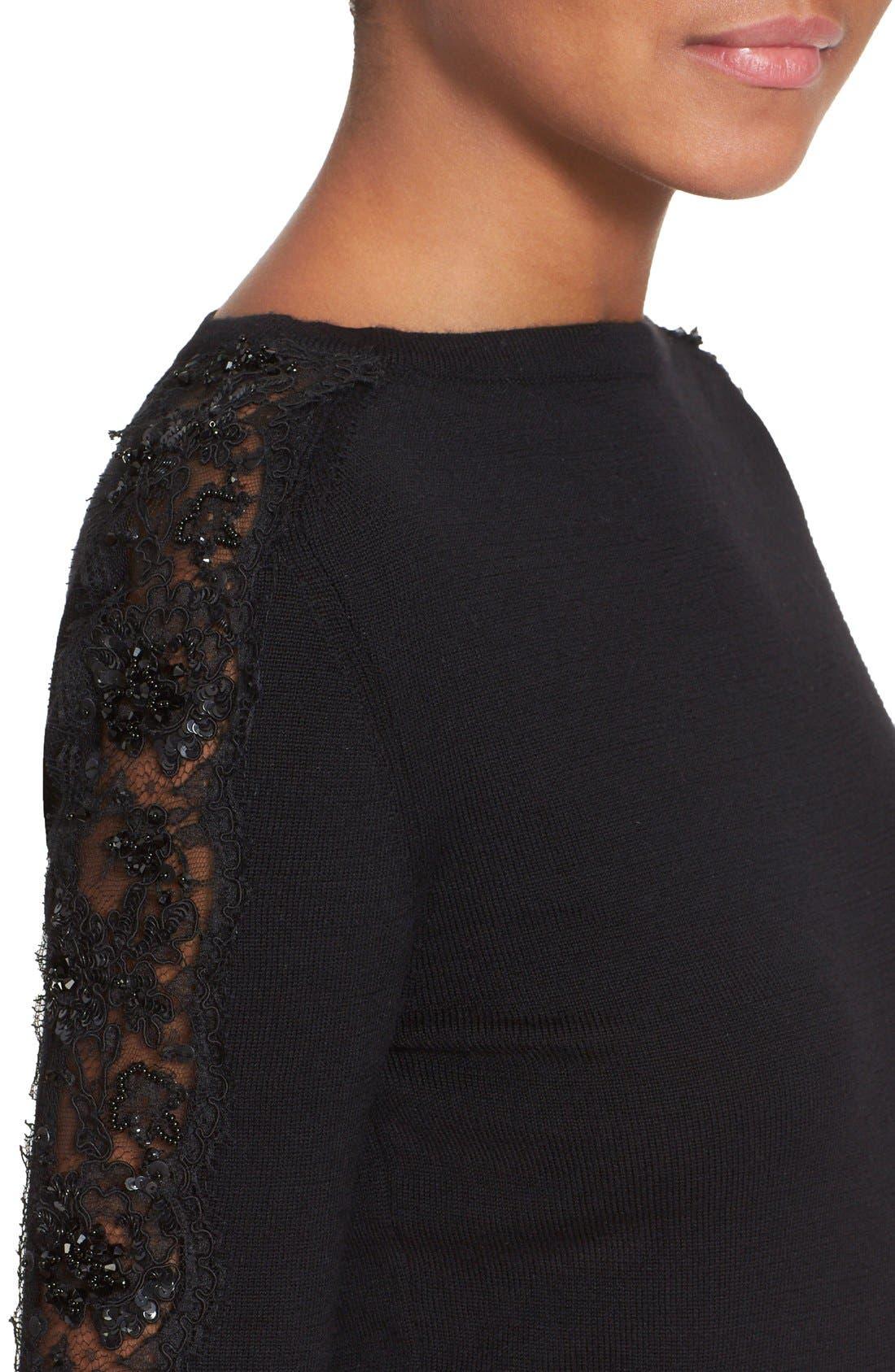 Alternate Image 4  - Oscar de la Renta Embellished Floral Lace Inset Wool Sweater