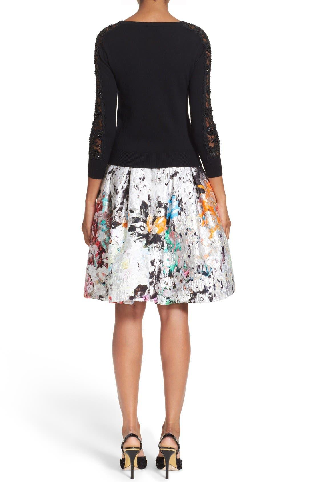 Alternate Image 2  - Oscar de la Renta Embellished Floral Lace Inset Wool Sweater