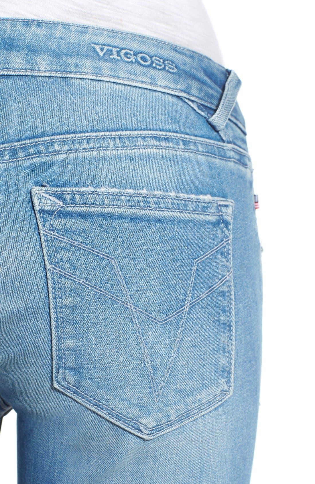 Alternate Image 4  - Vigoss 'Chelsea' Super Skinny Jeans (Light Wash)