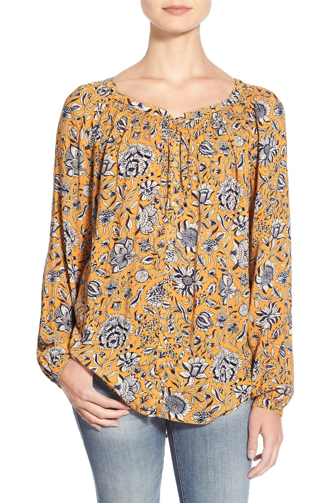Main Image - Lucky Brand 'Jemma' Floral Print Peasant Top