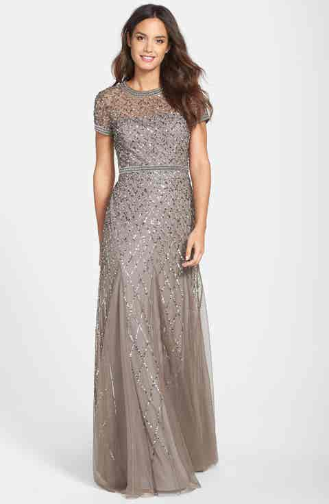 Adrianna Papell Beaded Mesh Gown (Regular   Petite)