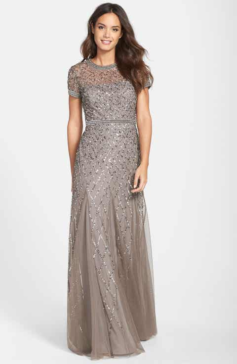 adrianna papell beaded mesh gown regular petite
